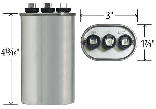 97F9842 Jard 12885-35 5 uF MFD x 440 VAC Genteq Replacement Dual Capacitor Oval # C4355L